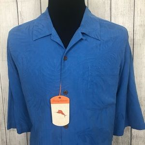 Tommy Bahama 2XB Blue Silk Button-Front Shirt